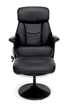 Superbe Leather Gaming Recliner And Ottoman, Black (ESS 7050M)