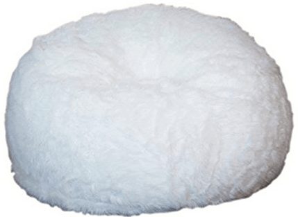 Comfy Sacks Memory Foam Bean Bag Chair, White Furry