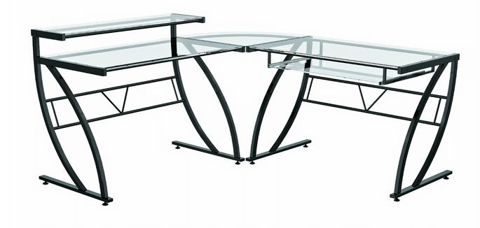 Z-Line Belaire Glass L-Shaped Desk