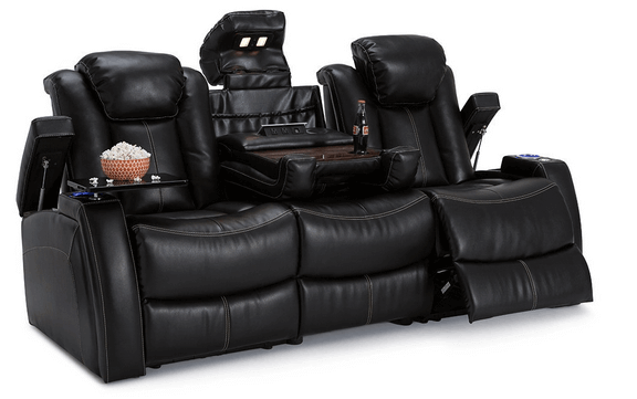 Lane Omega Leather Gel Home Theater Power Recline Multimedia Sofa with Fold-Down Table